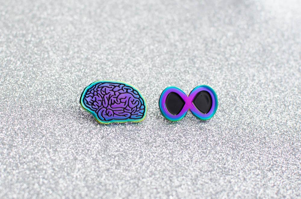 neurodiversity pin - rainbow plated brain and rainbow plated infinity symbol